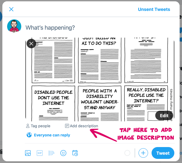 """Screenshot from twitter.com where a tweet is being composed with an image. An arrow points to the link """"Add description"""" and is labelled with """"Tap here to add description"""""""