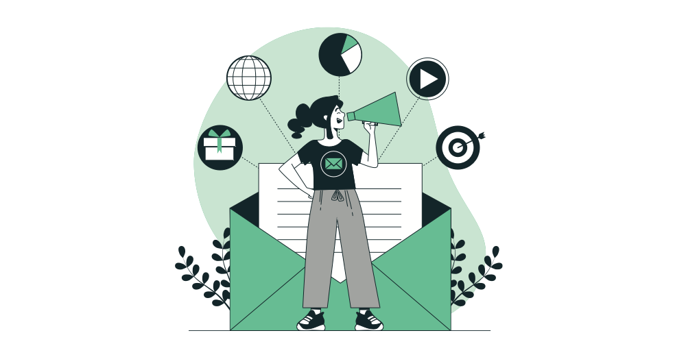 Symbolic visualisation of a newsletter. Cartoon of a person with a megaphone and a big envelope backdrop with various symbols connected with the enclosed letter: gift, globe, chart, play button and target.
