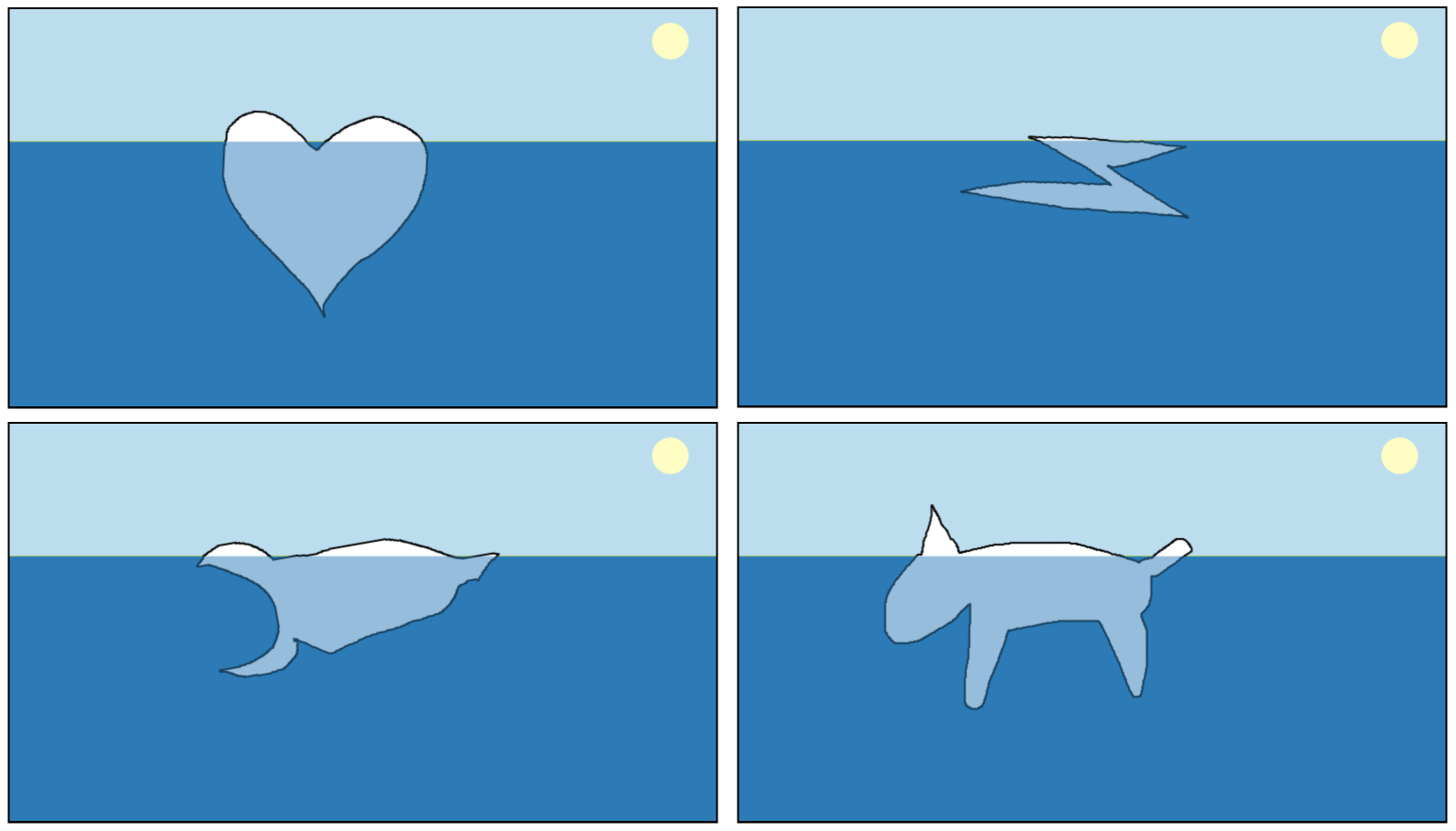 Images from iceberg simulator, attempts at a heart, a bolt of lightning, a spaceship and a dog.
